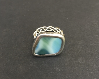 Turtle Green Glass Ring size 7