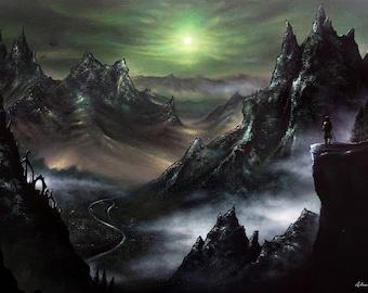 Skyrim, Elder Scrolls, Art Print, Game painting,  Mountains, Moonlight, Wall Art, Home decor, Fine Art print A3