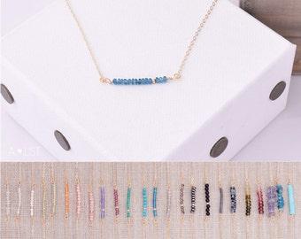 Gemstone Bar Necklace / Gem Bar Necklace / Dainty Gem Bar / Simple Gemstone Necklace / Layering Necklace / Bead Bar Necklace / Gift for Her