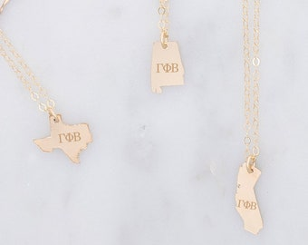 gamma phi beta necklace choose any state gamma phi beta state necklace sorority state necklace sorority jewelry gphib necklace