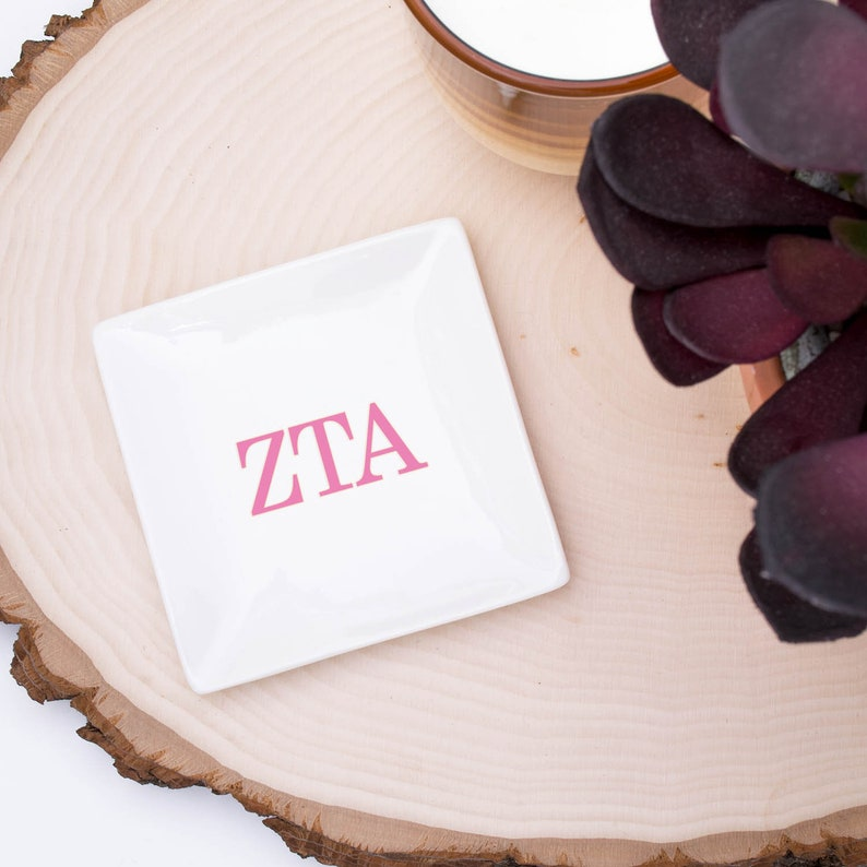 Zeta Tau Alpha Jewelry Trays  SET of 3 Sorority Trays  Zeta Ring Dish  ZTA Trinket Tray  Zeta Jewelry Holder  ZTA Ceramic Dish
