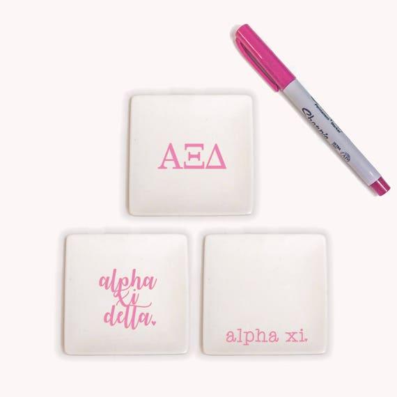 Alpha Delta Pi Jewelry Holder ADPi Ring Dish,A D Pi Trinket Tray ADPi Ceramic Dish Alpha Delta Pi Jewelry Trays SET of 3 Sorority Trays