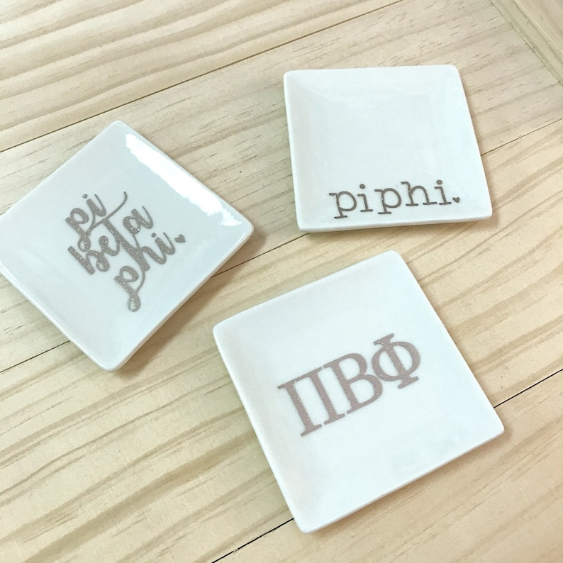 ASA Jewelry Holder Alpha Sig Ceramic Dish ASA Ring Dish SET of 3 Sorority Trays Alpha Sig Trinket Tray Alpha Sigma Alpha Jewelry Tray