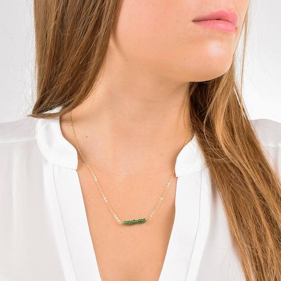 May Birthstone Jewelry Anniversary Gift Gemstone Bar Necklace Emerald Necklace Precious Gemstone Necklace Bridesmaid Jewelry Dainty
