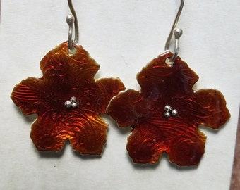 Red Posie enameled earrings