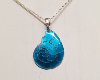Turquoise cloisonne nautilus necklace