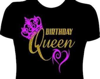 Birthday Queen T Shirt Women Ladies Bday