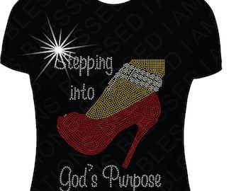 a6344c9cf Stepping Into God's Purpose Rhinestone T-Shirt Rhinestone Christian Shirt  Religious Shirt Shirt Christian shirt shirts tshirt t shirt gift