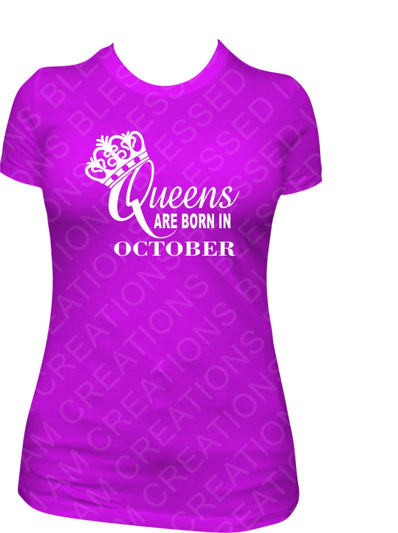 Queens Are Born In October Glitter Shirt Birthday Queen
