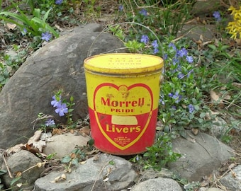 Vintage Can , Vintage Metal Can, Metal Pail , Yellow and Red Vintage Can, Vintage Kitchen Decor , Industrial Decor