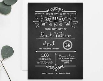 Printable Rustic DIY Birthday Invitation