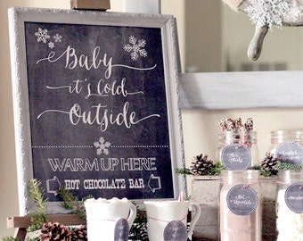 Baby it's Cold Outside - Hot Chocolate Bar Printable Kit, Christmas Printable, Christmas Digital Design, Winter Print, Hot Chocolate Bar Kit