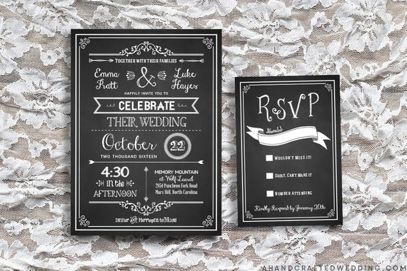 Grosir Chalkboard Wedding Invitations Gallery Buy Low Price