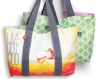 """Quote Tote Bag """"live outloud"""", reversible, travel bag, water-resistant, recyclable, beach bag, lightweight, eco-friendly, Tyvek, surf style"""