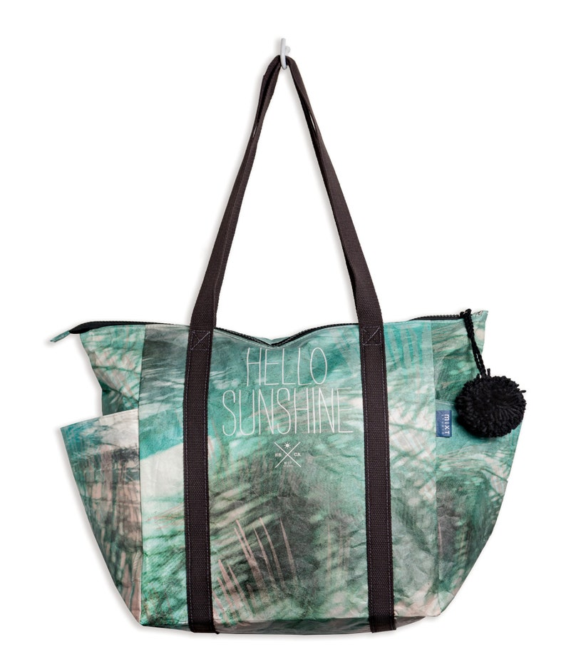 """8673845896a1 Zipper Tote Bag """"Hello Sunshine"""", travel bag, water-resistant, recyclable,  beach bag, lightweight, eco-friendly, Tyvek, surf style, quote"""
