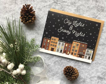 Winter Christmas Card - Snow in the city - New York City - City Lights - Holiday Card - Greeting Card - Snowy Scene - A2 with Kraft Envelope