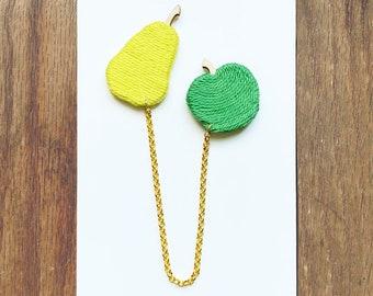 Pear and Apple Collar Brooch