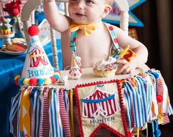 1st Birthday Circus High Chair Banner Fabric Tutu Wall Garland Carnival