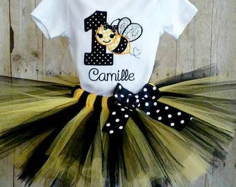 Bee 1st Birthday Tutu Outfit, Bumble Bee, Yellow and Black