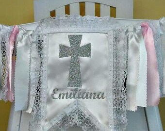 Communion High Chair Banner, Fabric Banner, Can Be Used As Wall Banner, High Chair Tutu, Baptism Banner