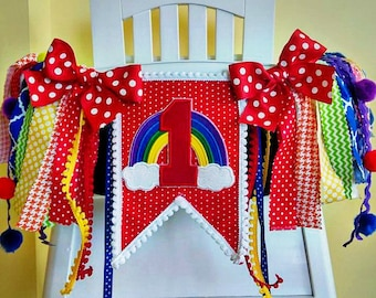 Rainbow High Chair Banner, Rainbow Highchair Banner, 1st Birthday Banner