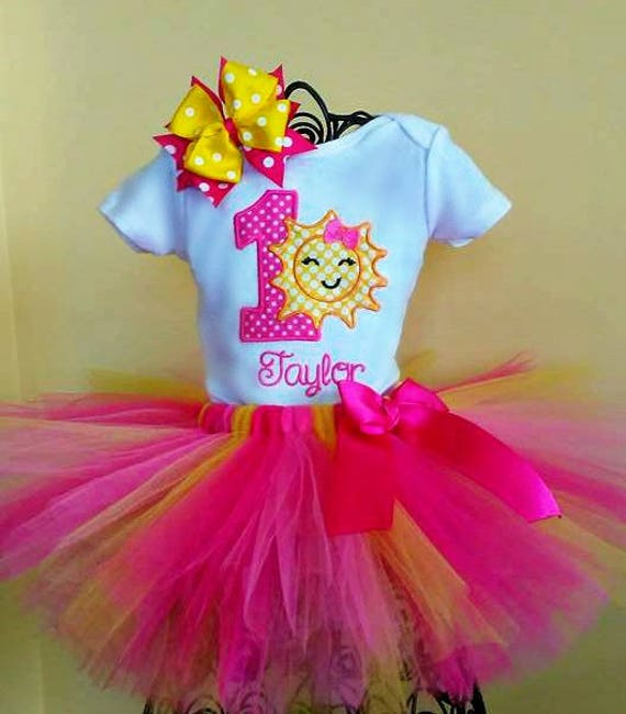 Sunshine 1st Tutu Birthday Outfit Pink And Yellow 1st