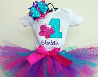 Pink, Purple, Turquoise 1st Birthday Butterfly Tutu Outfit, Cake Smash Outfit
