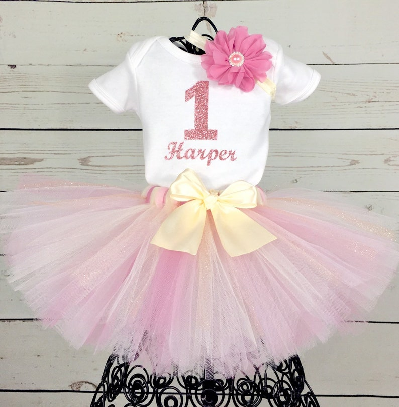 Girls 1st First Birthday Tutu Skirt Unicorn Outfit Rose Gold Pink Cake Smash Set