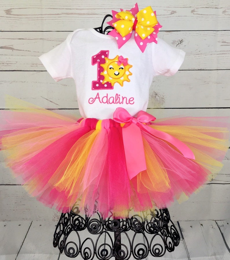 b401bc88a Sunshine 1st Tutu Birthday Outfit Pink and Yellow 1st   Etsy