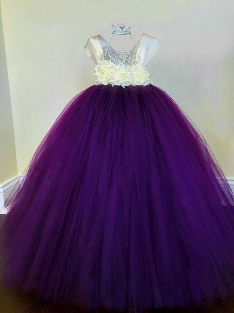 656387cb0 Plum and Ivory Flower Girl Dress Eggplant Flower Girl Dress | Etsy