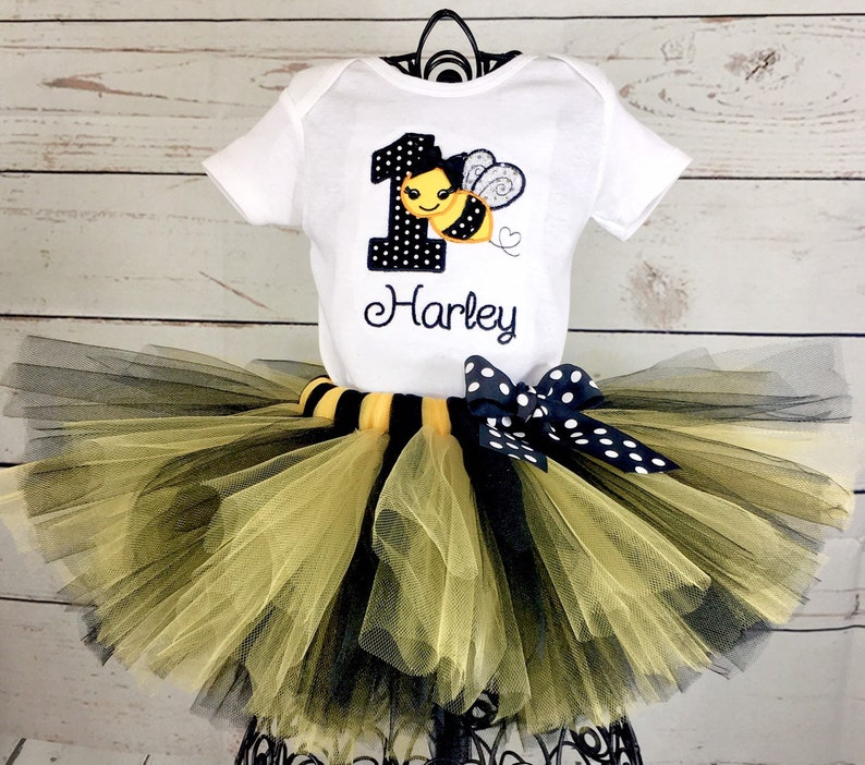 bf48db22c Bee 1st Birthday Tutu Outfit Bumble Bee Yellow and Black | Etsy