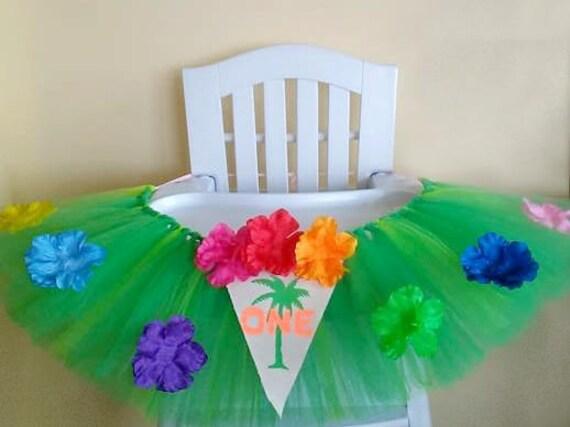 Luau High Chair Tutu Cake Smash Hawaiian 1st Birthday