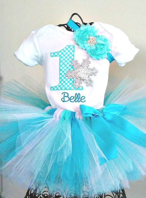 Pink Blue Snow Snowflakes Winter 1st Baby Birthday Shirt Tutu Outfit Set girl