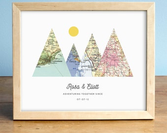 adventure together print 4 map mountain print personalized map art wedding gift art custom anniversary print gift for couple