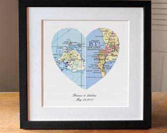 Map heart art | Etsy