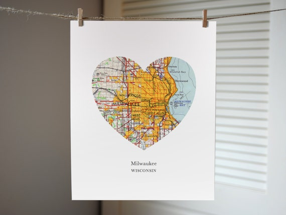 Milwaukee State Map.Milwaukee Wisconsin Heart Map Print Wisconsin State Art Etsy