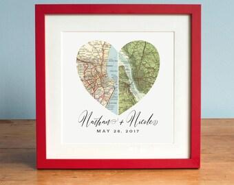 Anniversary Gift, Wedding Gift Art, Heart Map, Custom Wedding Gift, Anniversary Print, Gift for Couple, Wedding Map Art