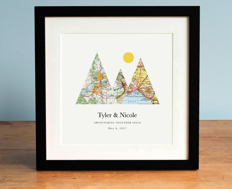 Adventure Together™ Map Mountain Personalized Wedding Gift or image 0