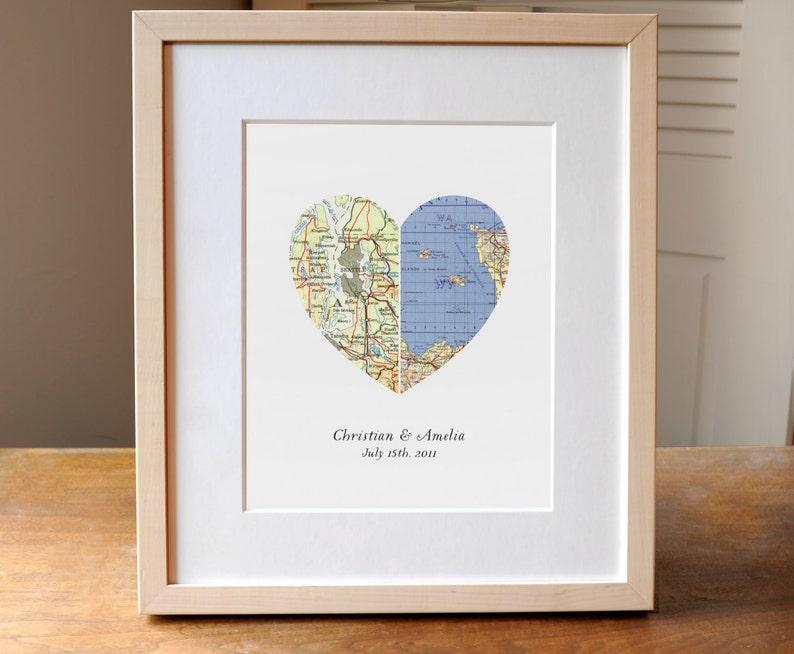 Heart Map Wedding Gift Anniversary Gift Engagement Gift Etsy