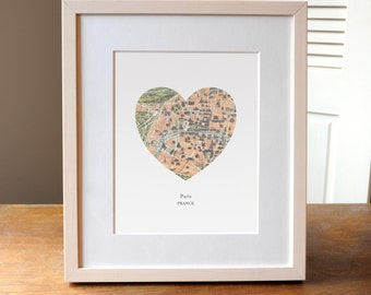 Paris Heart Print, France Map Print, Heart Map Print, Choose any hometown, Custom Valentines Gift, Valentines Day Print