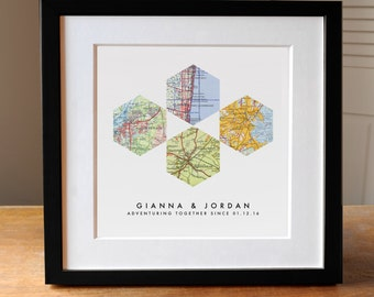 Map Art Wedding Gift, 4  Custom Maps, Wedding Gift Art, Custom Anniversary Print, Gift for Couple, Wedding Map Art