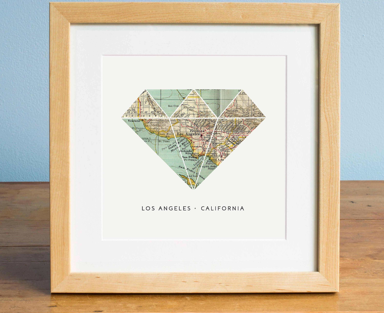 Los Angeles Karte Kunst LA Karte Karte von Los Angeles   Etsy