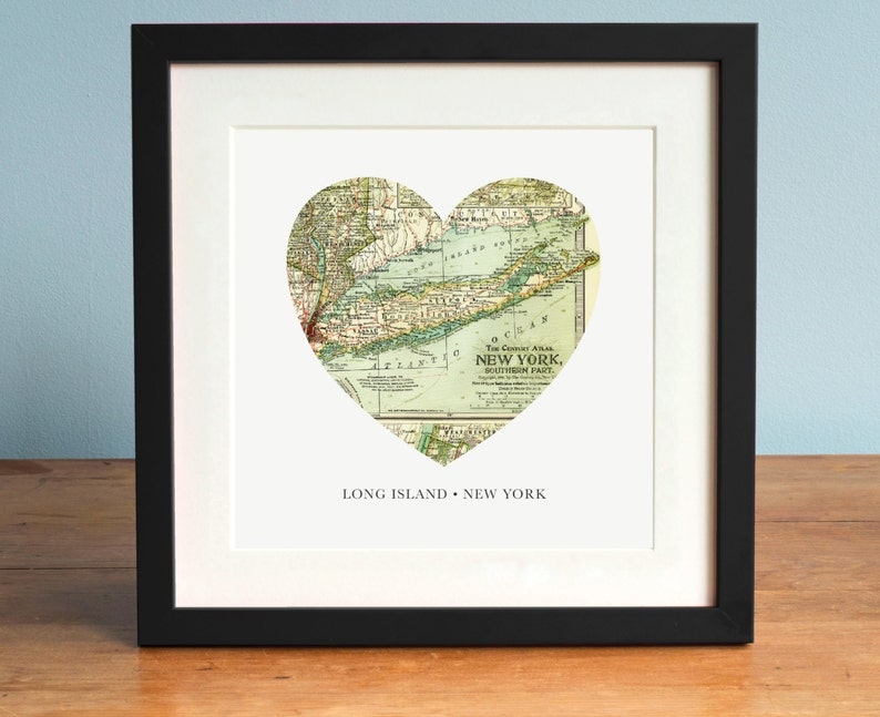 Long Island Map Long Island New York Map Heart Map Vintage Etsy