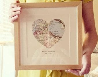 Map Art, Heart Map, Wedding Gift Art, Custom Wedding Map Gift, Anniversary Print, Gift for Couple, Wedding Map Art, Engagement Gift Art