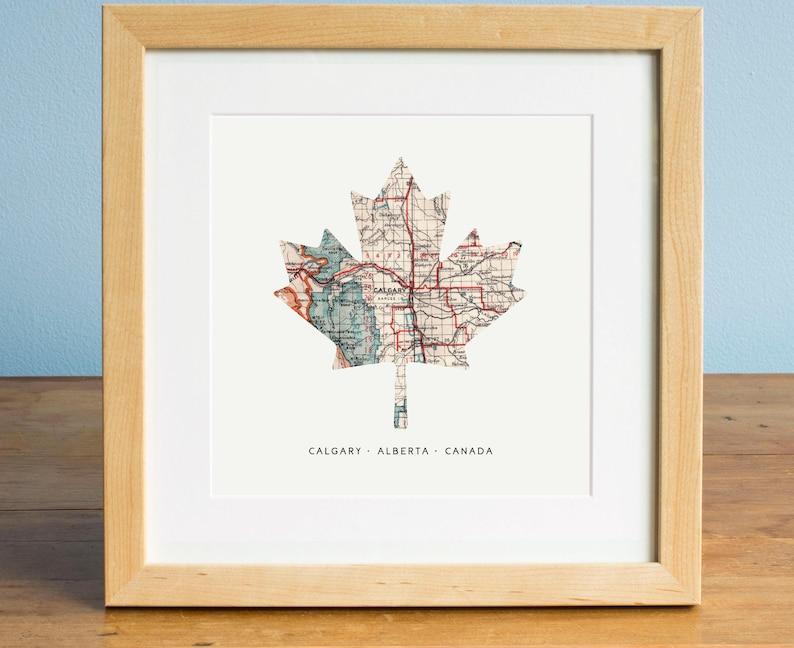 Canada Maple Leaf Map Map of Calgary Calgary Alberta Map | Etsy on