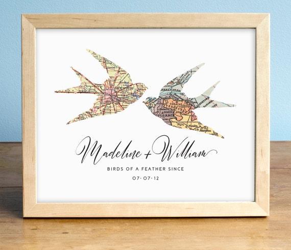 Swallows Wedding Map Print, Wedding Art, Personalized Map Art, Wedding Gift  Art, Custom Anniversary Print, Gift for Couple