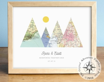Adventure Together® Map Mountain Print featuring 4 custom locations on vintage maps for Wedding Gift, Anniversary Gift, Engagement Gift