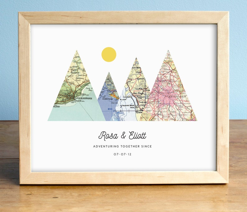 Adventure Together Print 4 Map Mountain Print Personalized image 0