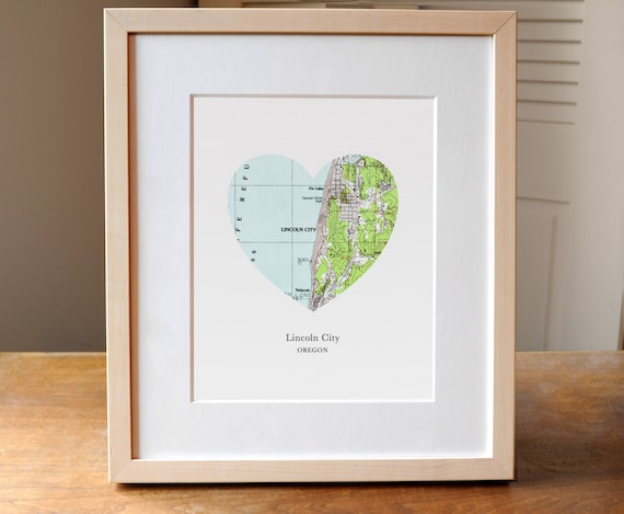Lincoln City Oregon Heart Map Print Small Town Map Art Etsy