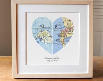 Wedding Gift, Heart Map Wedding Gift Art, Anniversary Gift, Custom Wedding Gift, Anniversary Print, Gift for Couple, Wedding Map Art